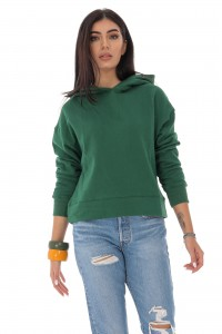 Ladies casual sweatshirt - AIMELIA - with hood, Green, BR2352