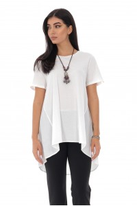 Ladies high low t-shirt - AIMELIA - cotton back , white, BR2356