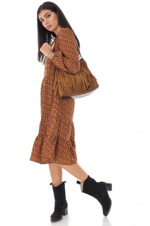 Ladies Tiered midi Dress - AIMELIA - micro print, multi brown, DR4230