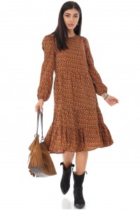 Ladies Tiered midi Dress - AIMELIA - micro print, multi brown, DR4230
