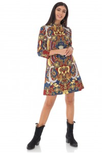 Oriental printed Tunic - Multi-colour - Aimelia - DR4243