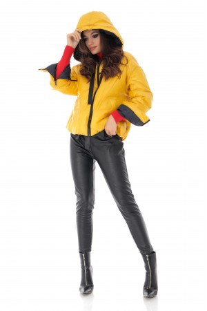 Short yellow quilted puffer jacket, Aimelia - JR503