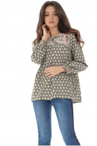 Boho style cotton tunic top in an ethnic print and a loose fit - Aimelia