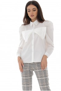 Bow front cotton shirt, White - Aimelia