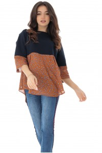 Chic 2-fabric top - Aimelia
