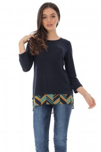 Fine knit top with a colourful aztec printed hem - Aimelia