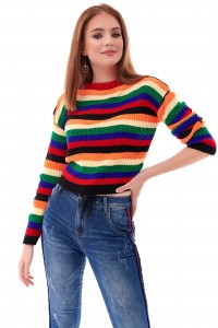 Ladies colourful striped crop Jumper - AIMELIA - BR2337