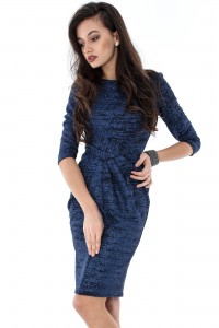 Glittery Navy Jersey Draped Bodycon Dress-Aimelia-DR3242