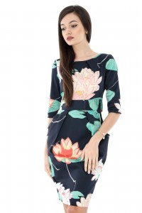 Navy floral printed dress - DR3310