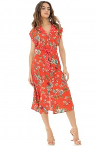 Red midi floral dress Aimelia