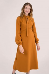 Mustard D-ring collar A-line midi dress, Aimelia - DR4036