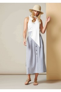 Striped A-line skirt with front buttons, Aimelia - FR466