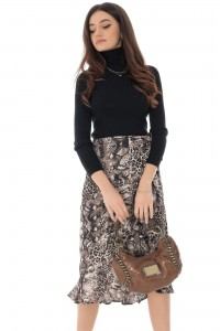 Grey Animal Print Wrap Skirt - Aimelia