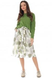 Leaf print midi shirt, Aimelia - FR474
