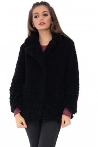 Super Soft Black Teddy Coat - JR424 - Aimelia