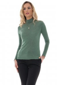A fine green knit high neck wool blend jumper - Aimelia - BR2402
