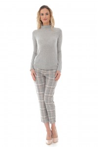A fine grey knit high neck wool blend jumper - Aimelia - BR2403