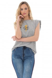 A crew necked t-shirt with padded shoulders - Aimelia - BR2405