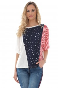 Drop shoulder cotton top in spot and stripes - Aimelia - BR2406