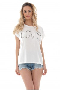 "White crew neck ""Love"" t-shirt - Aimelia - BR2407"