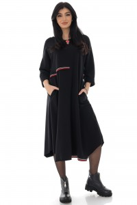 Oversized Black dress with an asymetric seam - AIMELIA - DR4252