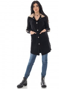 Ladies Casual Black Jacket with contrast hood - AIMELIA - JR536
