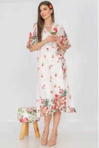 Floral wrapover dress, Aimelia DR4301,in White,with a border print