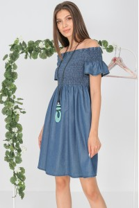 Bardot style dress,Aimelia DR4305, in Denim,with a shirred bodice