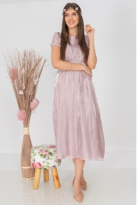 Delicate midi dress, Aimelia DR4306, in pastel Lilac, with puff sleeves.