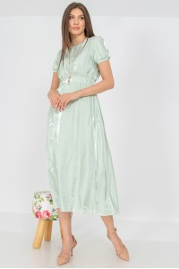 Delicate midi dress, Aimelia DR4307, in pastel mint, with puff sleeves.
