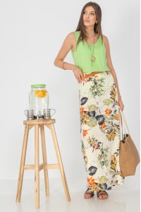 Printed maxi skirt,Aimelia FR496,in Cream,with a contrasting belt