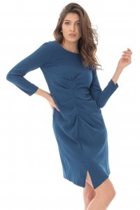 Closet ruched midi dress - Teal - AIMELIA - DR2570