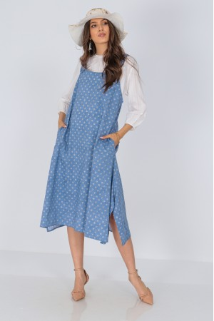 Cotton pinafore, Aimelia Dr4292, in Denim and White, with pockets.