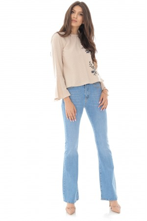 Flared denim jeans,Aimelia Tr436,in light Blue, with a high waist.