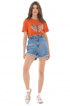 Denim shorts,Aimelia Tr437,in light Blue,with a paperbag waist.