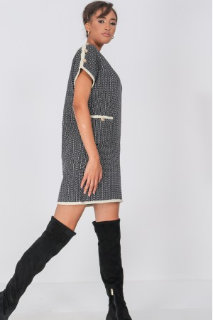 Chanel inspired Shift Dress,Aimelia Dr4334, in Black with two front pockets.