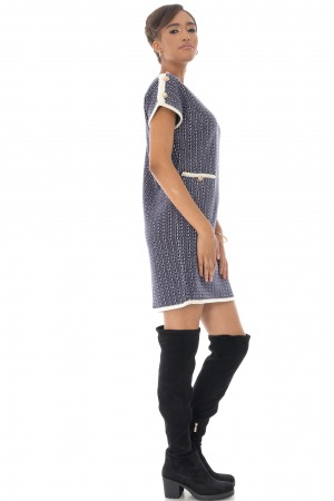 Chanel inspired Shift Dress,Aimelia Dr4335, in Navy with two front pockets.