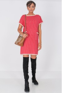 Chanel inspired Shift Dress,Aimelia Dr4336, in Red with two front pockets.