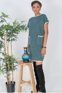 Chanel inspired Shift Dress,Aimelia Dr4337, in Green with two front pockets.