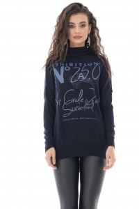 Superfine high neck top with contrasting inscription, Navy - AIMELIA - BR2379