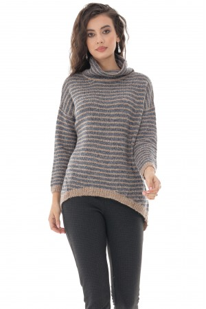 LADIES GREY HIGH NECK STRIPE BOUCLE JUMPER - AIMELIA - BR2382