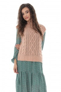 Ladies Pink High neck cable knitted vest - AIMELIA - BR2388