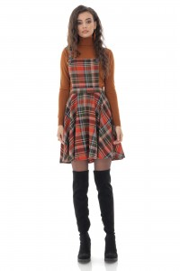 Trendy seasonal check Pinafore -AIMELIA - DR4207