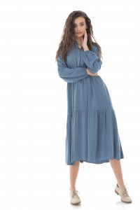 LONG SLEEVE TIERED MIDI SHIRT DRESS IN DARK BLUE - AIMELIA - DR4250