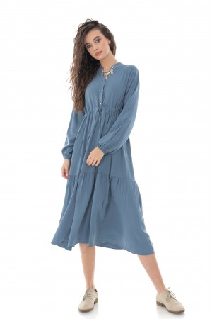 LONG SLEEVE TIERED MIDI SHIRT DRESS IN DARK BLUE - AIMELIA - DR4250