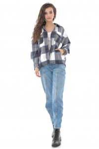 On Trend check Navy-White  'Shacket' with a button-down front - ROH - JR534