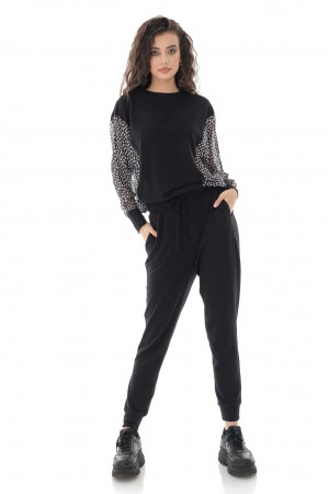 LADIES SHEER PANEL LOUNGEWEAR SET IN BLACK - AIMELIA - TR424