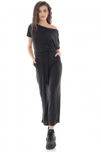 Soft Black Knitted Jumpsuit - AIMELIA - TR426