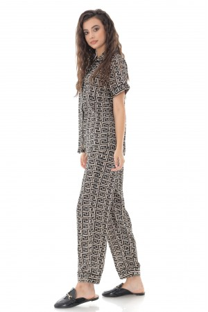 Black Geo Print Satin Long PJ Set - Aimelia - TR428