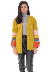 Ladies oversize cardigan - AIMELIA - contrasting stripe sleeves, mustard, BR2348